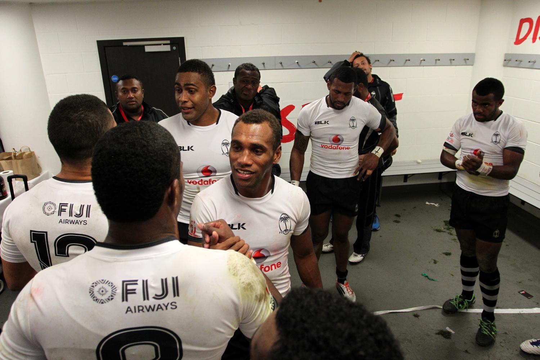 Fiji celebrate winning the HSBC World Rugby Sevens Series