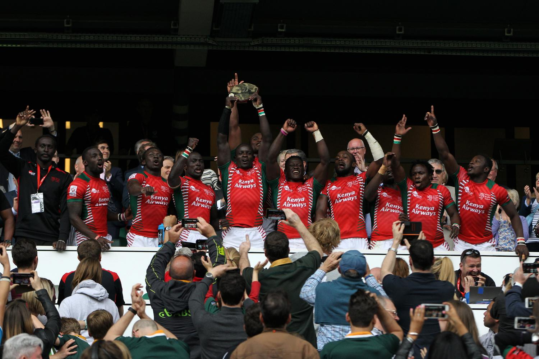 Kenya's Andrew Amonde lifts the Shield at the HSBC London Sevens