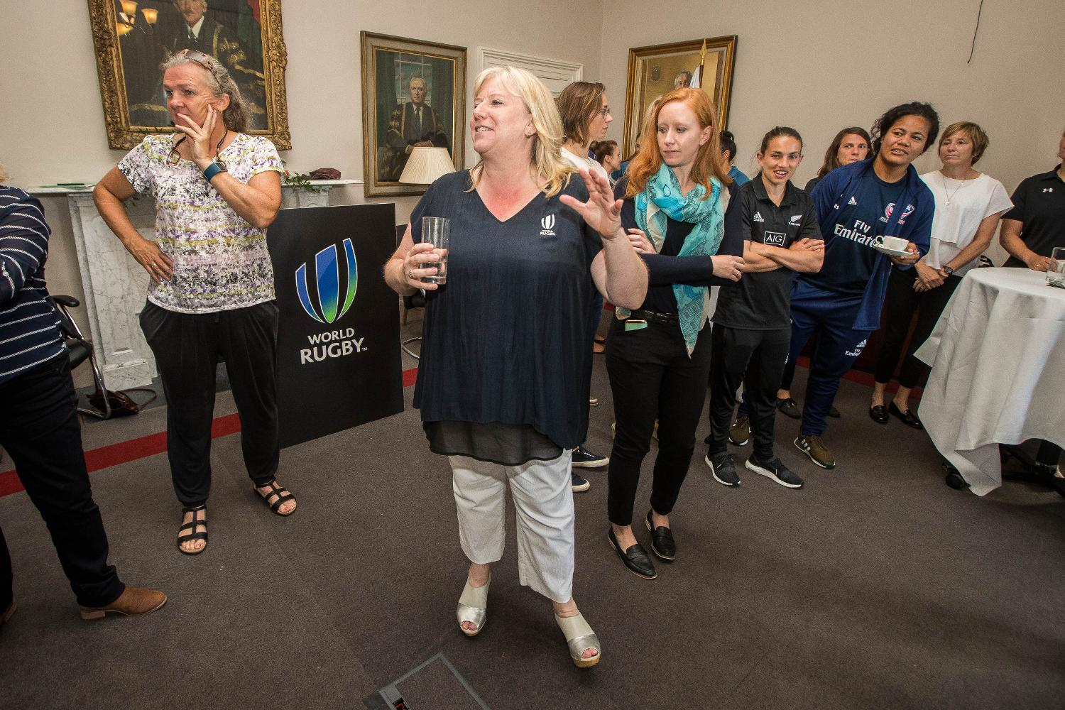 World Rugby Women's General Manager, Katie Sadlier speaks at the Captains Breakfast hosted for WRWC past and present leaders