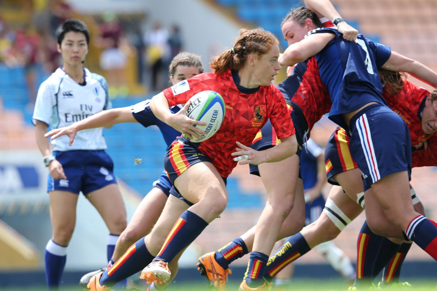 Barbara Pla, Spanish player, in action against France on day one at Brazil 7s