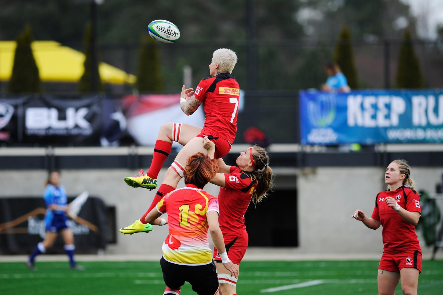 Canada's Jen Kish collects under the high ball