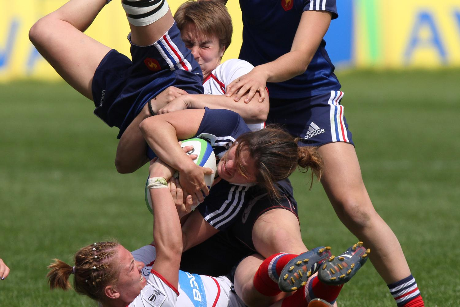 OUCH: Big tackle during France v Russia