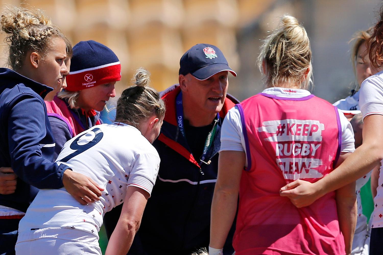 Coach Simon Middleton in huddle