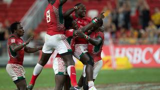 Kenya players celebrate their first ever Cup win!