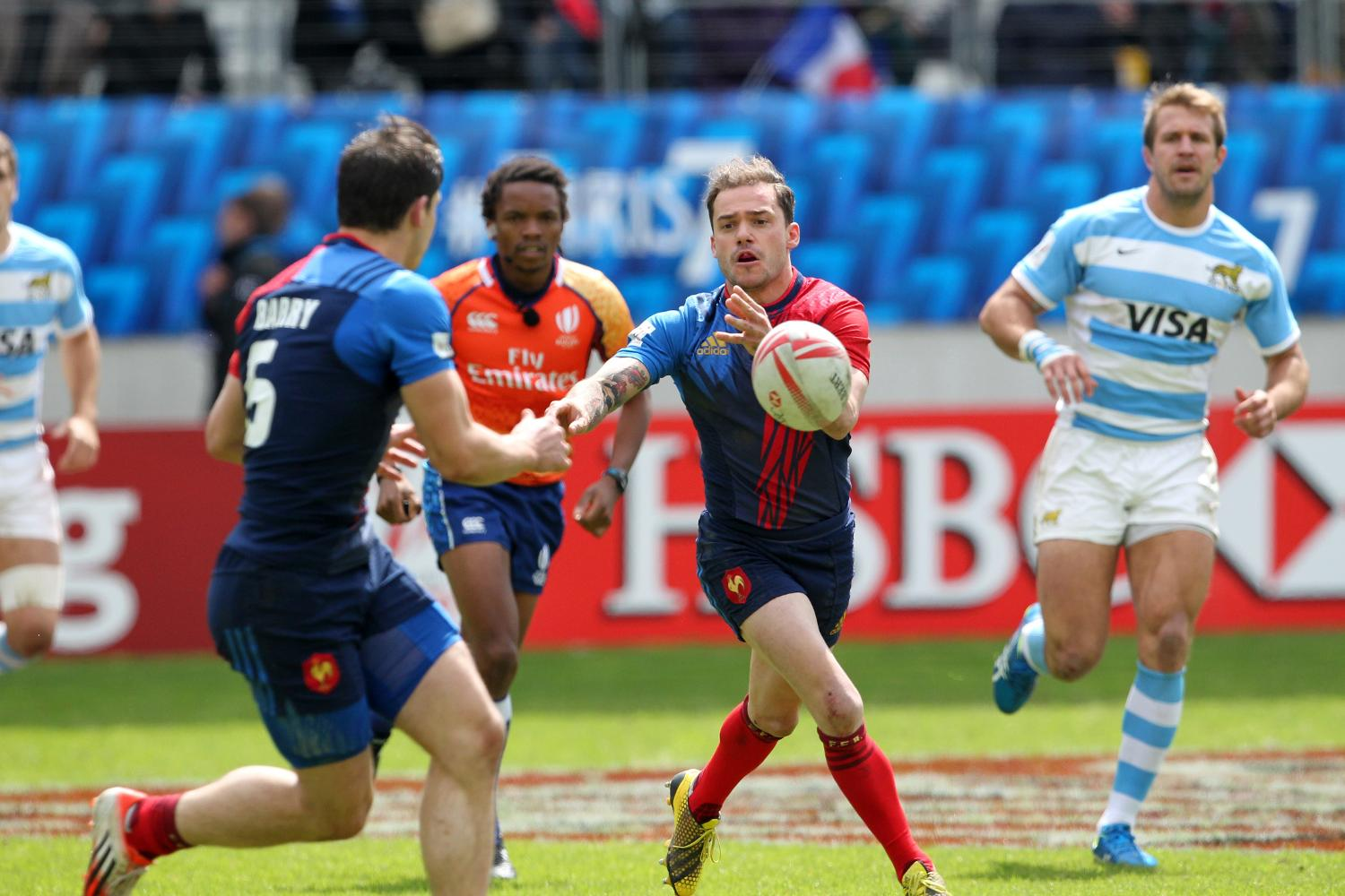 France's Terry Bouhraoua starred on day two of the HSBC Paris Sevens