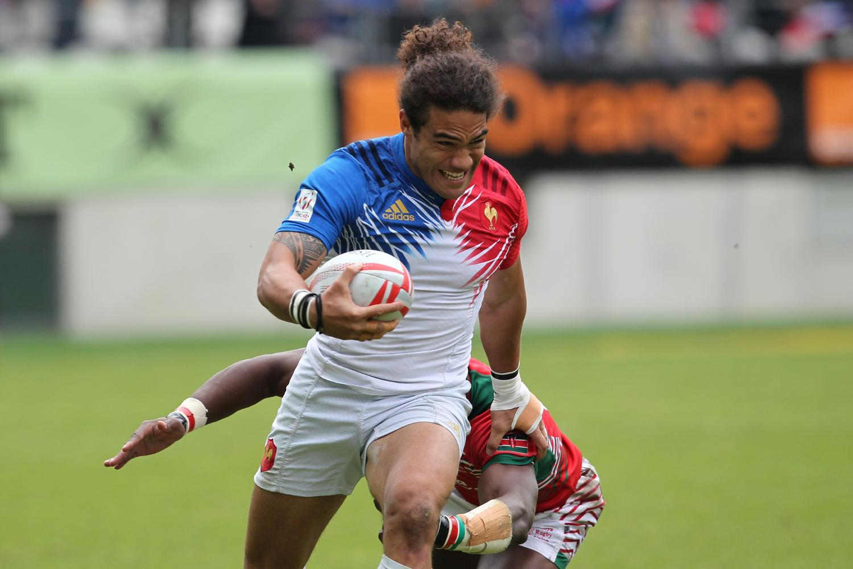 France's Pierre Gilles Lakafia scores against Kenya