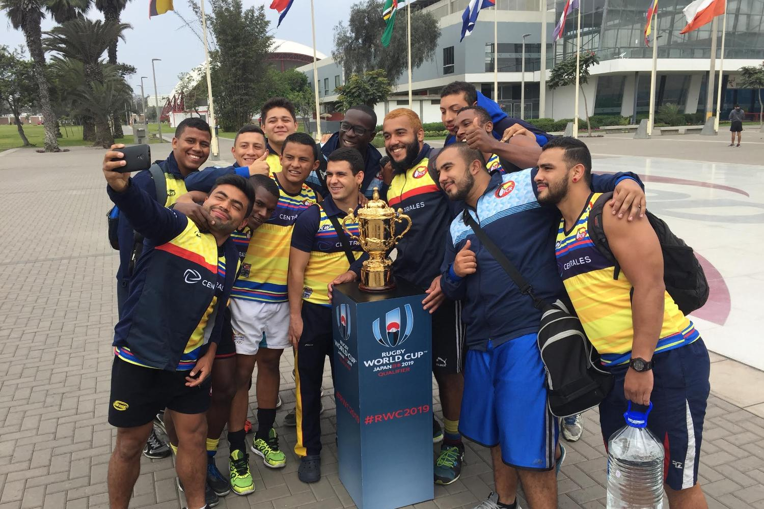 Colombia with the Webb Ellis Cup