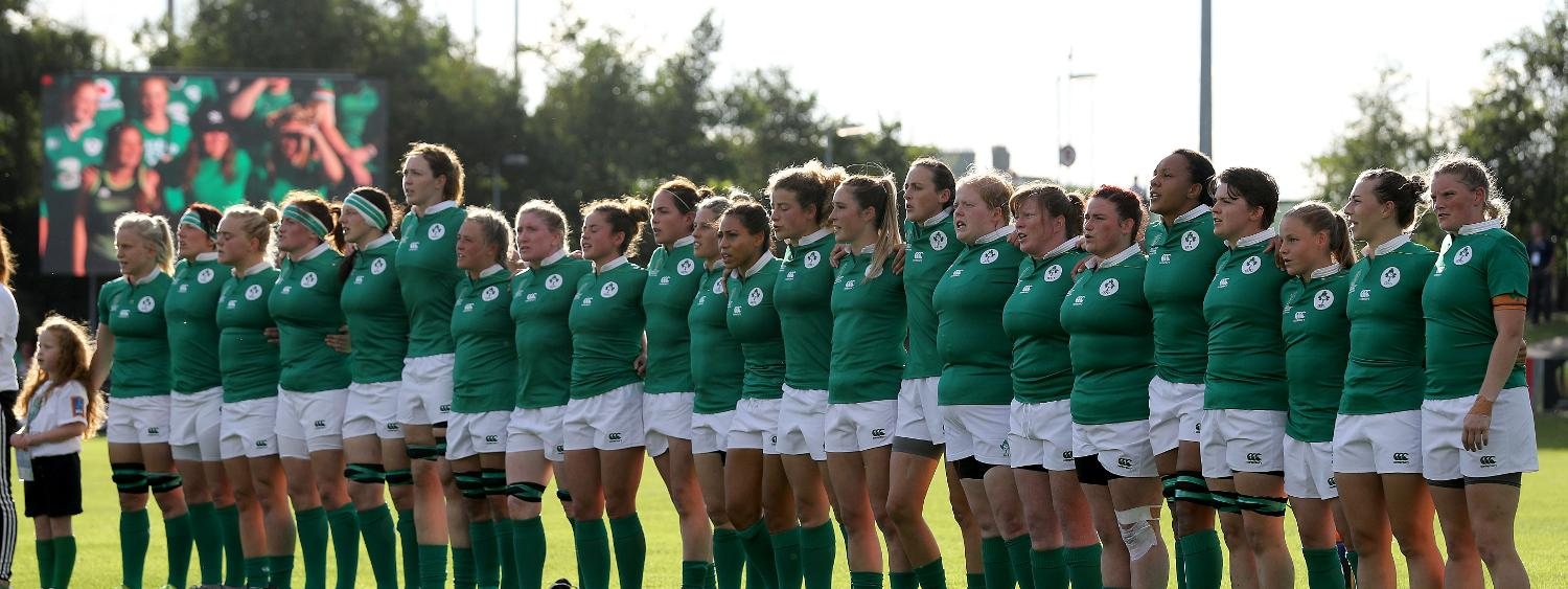 WRWC 2017: The Ireland team stand for the national anthem