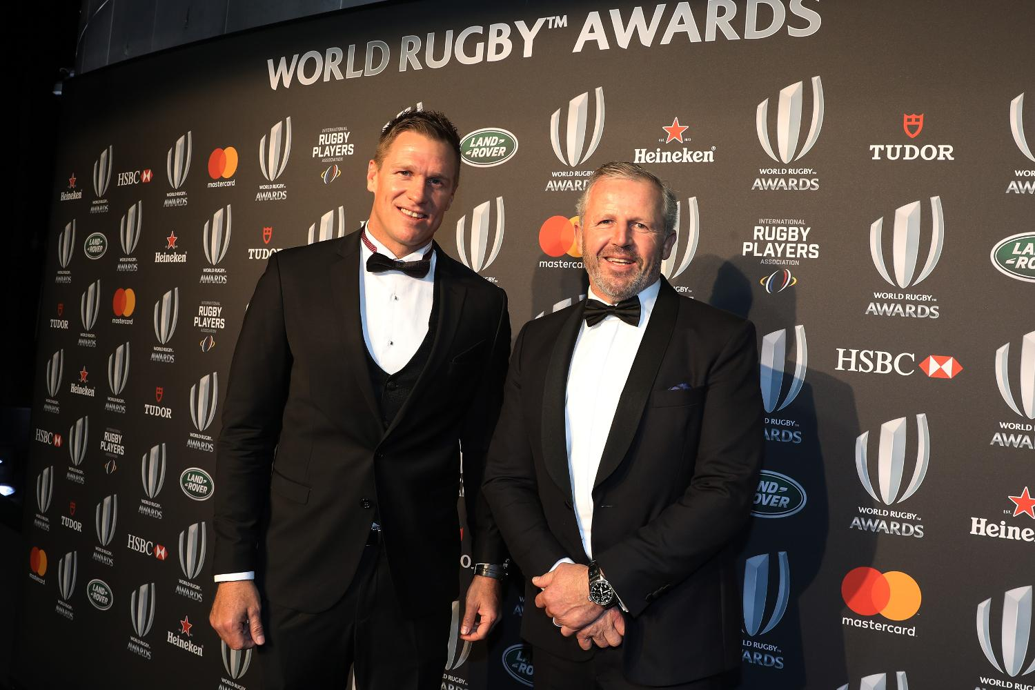 Jean de Villiers and Sean Fitzpatrick attend the World Rugby Awards 2017