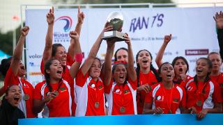 RAN women's sevens championship 2018 trophy lift