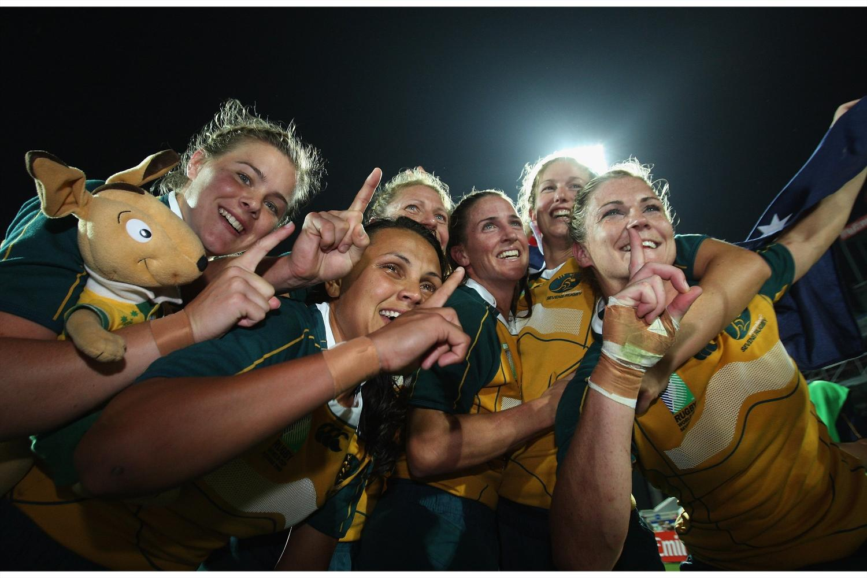 Australia Women Sevens team celebrate in Dubai