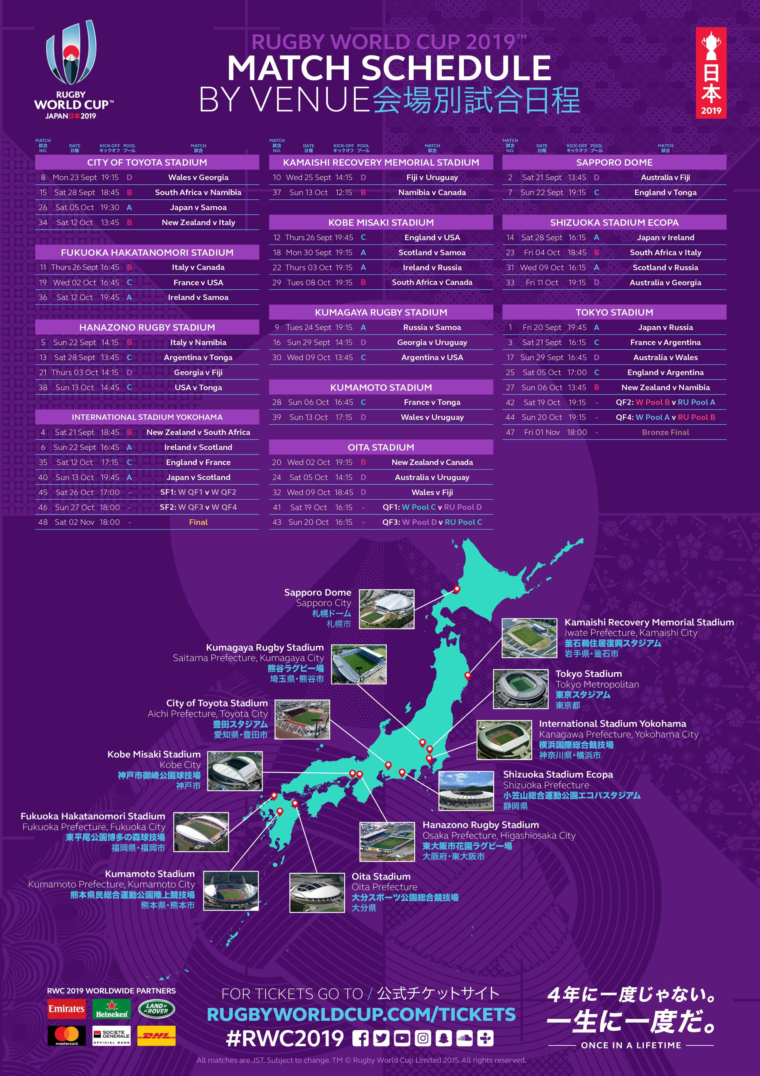 RWC 2019 Match Schedule - Rugby World Cup 2019 ...