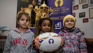 The Webb Ellis Cup inspires rugby players and fans across Germany